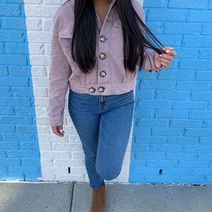 Free people light purple wash denim jacket
